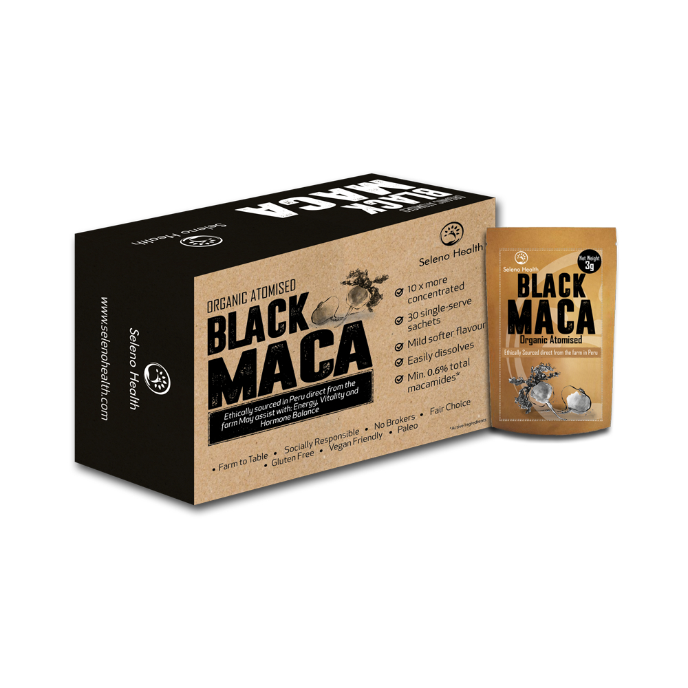 Atomised organic black maca